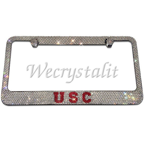 USC Crystal Sparkle Auto Bling Rhinestone License Plate Frame with ...