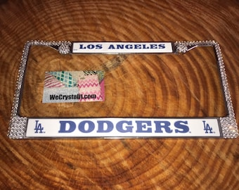 Los Angeles Dodgers License Clear Crystal Sport baseball Frame Sparkle Auto Bling Rhinestone Plate Frame with Swarovski Elements Made WeCrys