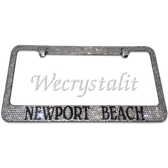Newport Beach Crystal Sparkle Auto Bling Rhinestone License Plate ...