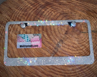 Linda Clear 8 Row Swarovski Crystal Sparkle Auto Bling Rhinestone License Plate Frame Made with Swarovski Elements Made by WeCrystalIt