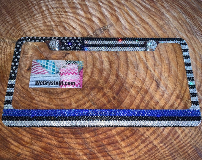 Thin blue line Flag Crystal Sparkle Auto Bling Rhinestone License Plate Frame with Swarovski Elements Made by WeCrystalIt
