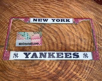 New York Yankees Pink License Crystal Sport baseball Frame Sparkle Auto Bling Rhinestone Plate Frame with Swarovski Elements by WeCrystalIt