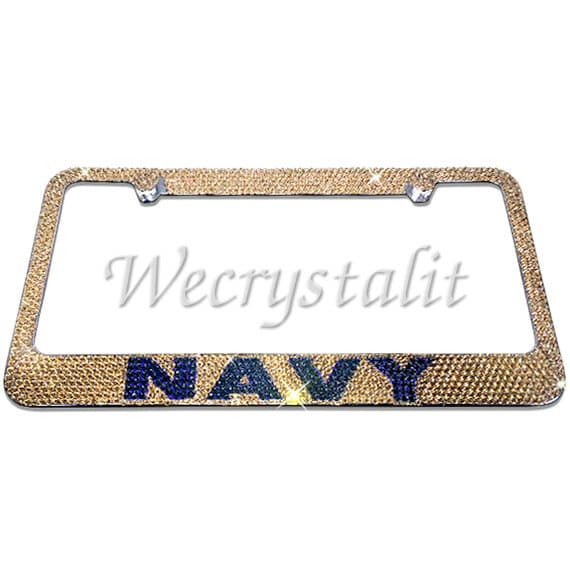 Navy Gold and Navy Blue Crystal Sparkle Auto Bling Rhinestone ...