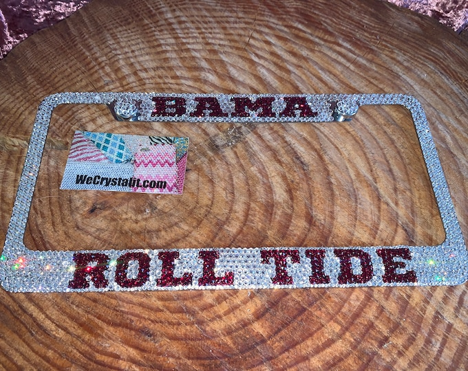 Bama Roll Tide Football License Crystal Sport Frame Sparkle Auto Bling Rhinestone Plate Frame with Swarovski Elements Made by WeCrystalit