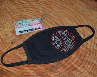 Baseball Base ball Bling Crystal Rhinestone Face Mask Filter Layer Adult  Teen 100% Cotton 2 layers USA Hand Made Reusable Washable Facemask