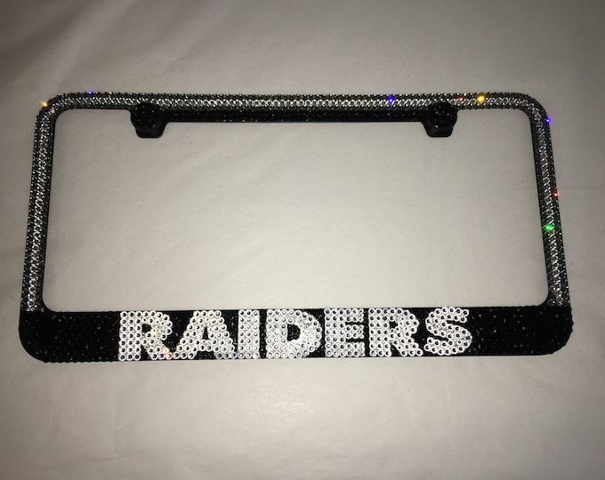 Raiders Las Vegas Crystal Sparkle Auto Bling Rhinestone  License Plate Frame with Swarovski Elements Made by WeCrystalIt