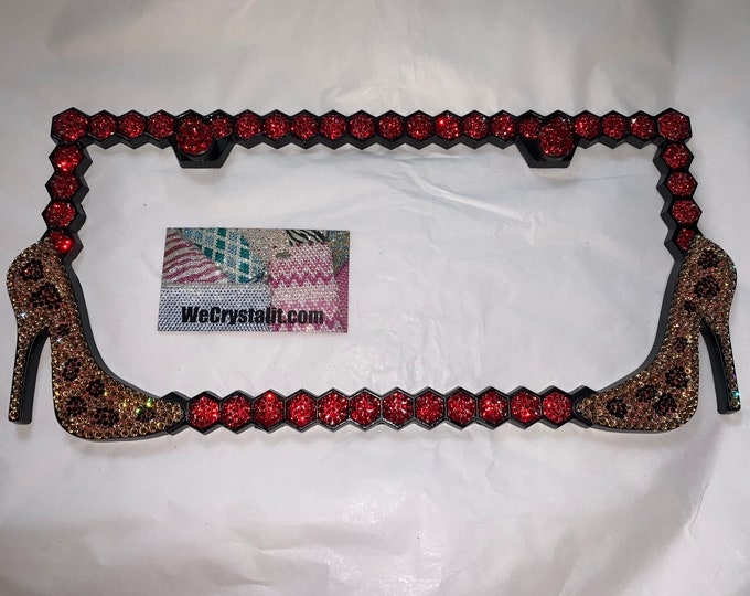 HIgh Heel Shoe Leopard Crystal Sparkle Auto Bling Rhinestone License Plate Frame with Swarovski Elements Made by WeCrystalIt
