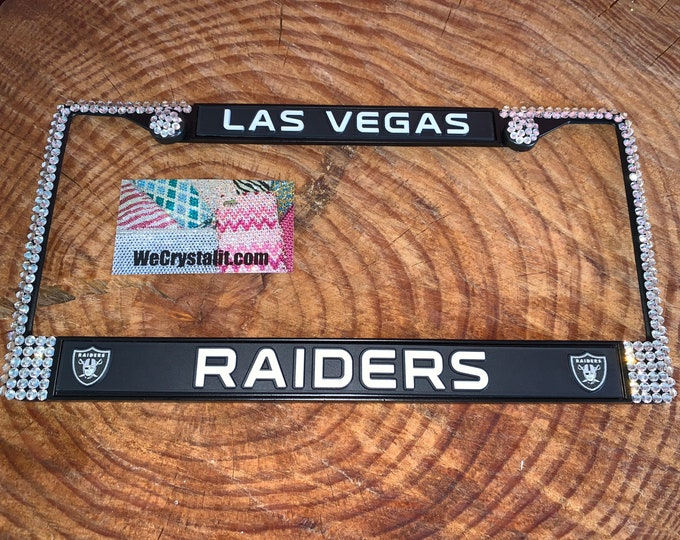 Las Vegas Raiders License Jet Black Crystal Sport Silver Frame Sparkle Auto Bling Rhinestone Plate Frame with Swarovski Elements Made by We