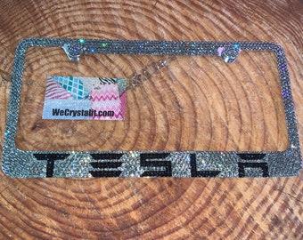 Tesla black diamond Crystal Sparkle Auto Bling Rhinestone  License Plate Frame made with Swarovski Elements Made by WeCrystalIt
