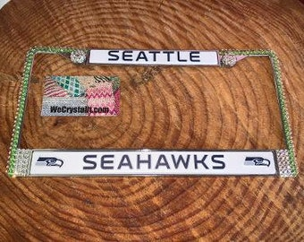 Seattle Seahawks License Crystal Sport Silver Frame Sparkle Auto Bling Rhinestone Plate Frame with Swarovski Elements Made by WeCrystalit