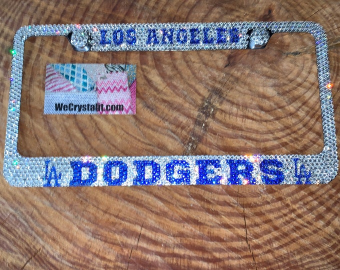 LA Dodgers Crystal Sparkle Auto Bling Rhinestone  License Plate Frame with Swarovski Elements Made by WeCrystalIt