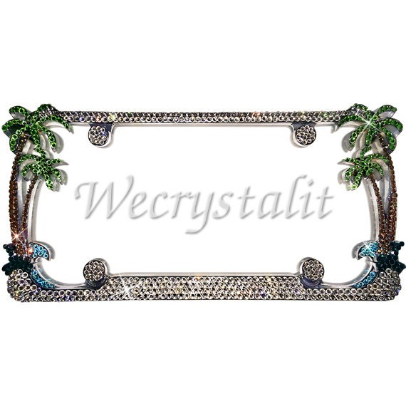 Palm Tree Crystal Sparkle Auto Bling Rhinestone License Plate Frame ...