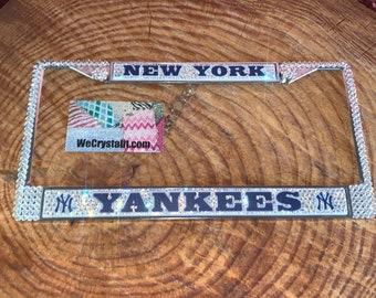 New York Yankees License Crystal Sport baseball Frame Sparkle Auto Bling Rhinestone Plate Frame with Swarovski Elements by WeCrystalIt