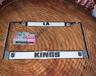 LA Kings License Clear Hockey Sport Silver Frame Sparkle Auto Bling Rhinestone Plate Frame with Swarovski Elements Made by WeCrysta