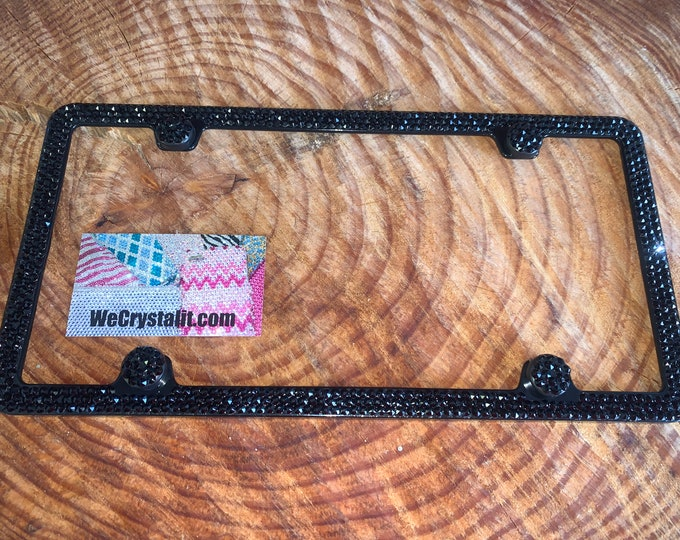 Jet pure Black 3 Row on Black Frame Crystal Sparkle Auto Bling Rhinestone  License Plate Frame with Swarovski Elements Made by WeCrystalIt