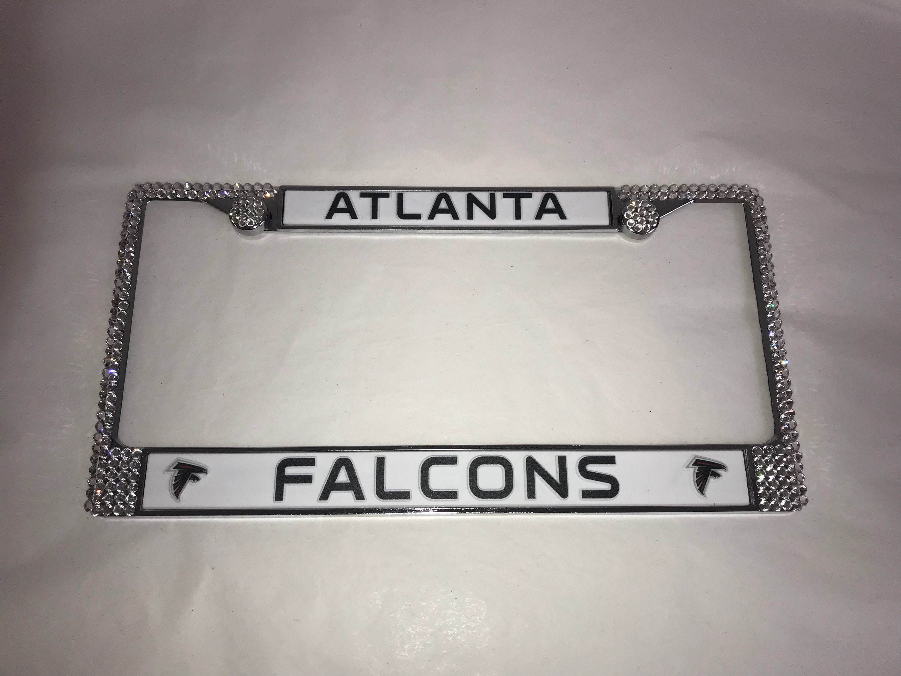 Falcons License Crystal atlanta Sport Silver Frame Sparkle Auto ...