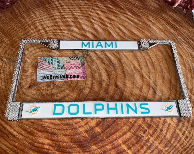 Miami Dolphins License Crystal Sport Silver Frame Sparkle Auto Bling Rhinestone Plate Frame with Swarovski Elements