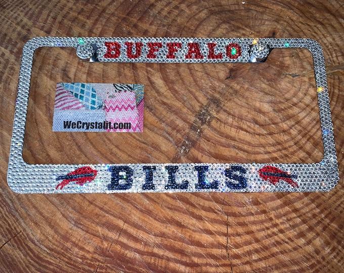 Buffalo Bills Crystal Sparkle Auto Bling Rhinestone  License Plate Frame with Swarovski Elements Made by WeCrystalIt