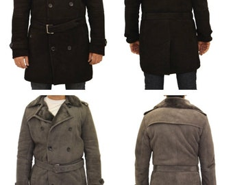 Men/'s Cowhide Real Leather Coat Khaki WW2 Inspired Double Breasted Style Dr Who