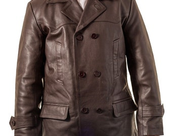 43454ea0a8045 Mens dr who brown military double breast u-boat cowhide leather german  peacoat