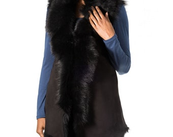 Sleeveless Body Warmer A to Z Leather Womens Black Nappa Leather with Black Shearling Waterfall Short Gilet Waistcoat