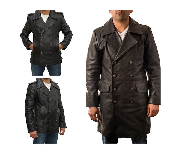 Men/'s Genuine Cowhide Leather Double Breasted Blazer Trench Coat by Zeraafat