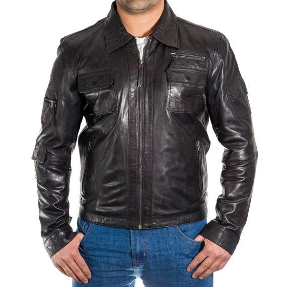 Herren Vintage BikerBomber Stil Lederjacke mit Hemdkragen