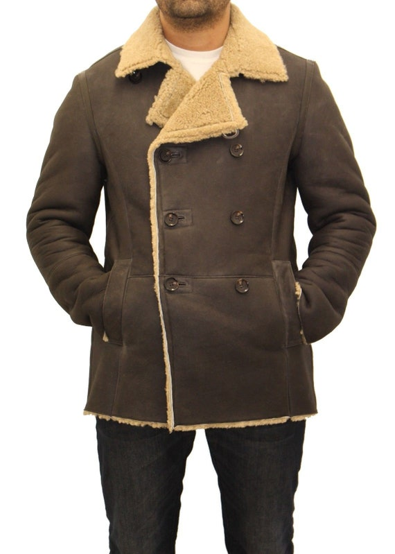 e752fbda8dc0d Mens german naval real sheepskin olive brown double breasted
