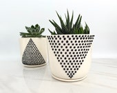 MADE TO ORDER - black and white minimalist ceramic succulent planters - A and V line pottery planters - modern ceramics - minimalist potter