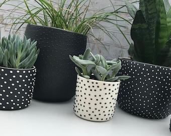 custom studded black planter