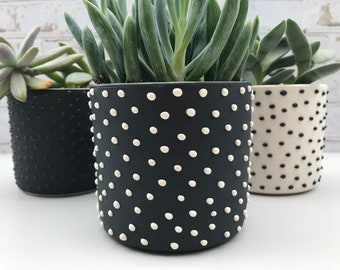 Black and white succulent planter. made to order. modern succulent planter. small planter. ceramic planter. pottery planter. minimalist
