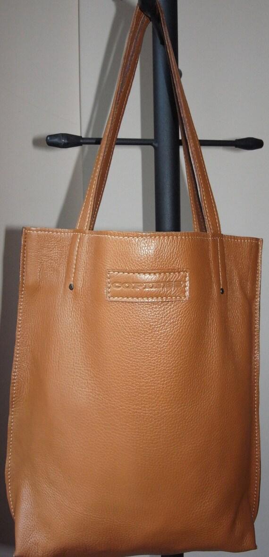 03b551ff83 Genuine Leather Bag Camel Color Leather Tote Bag Large