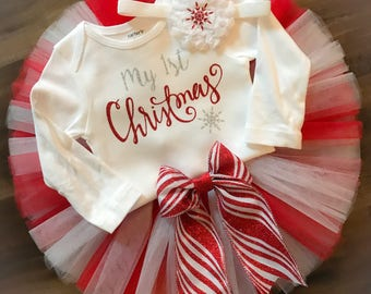 my first christmas outfit babys first christmas outfit girl christmas outfit girl christmas tutu red and white tutu santa outfit