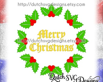 Christmas Wreath Cutting File With Text Merry Christmas Svg Etsy