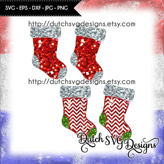 2 Christmas Stockings In Jpg Png Svg Eps Dxf For Cricut Etsy
