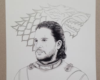 Metallic Direwolf - Limited edition Jon Snow 8x12 print