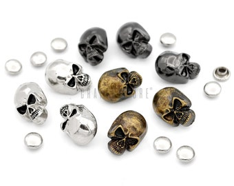 Skeleton Head Metal Craft Sewing Novelty Buttons Set of 4 Human Skull
