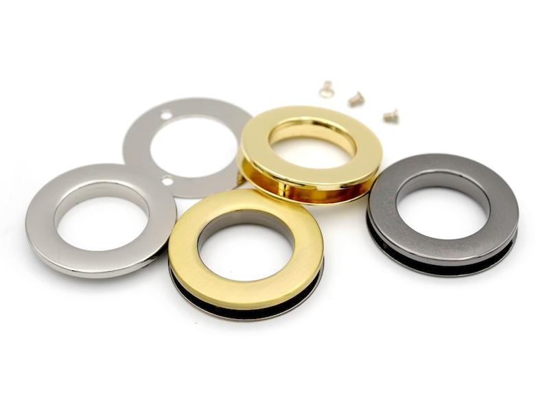 Metal SCREW Rings Grommet Round Flat Surface Purse Loop O-rings Craft Accessories 21MM 25MM Pack of 4 Complete Rings