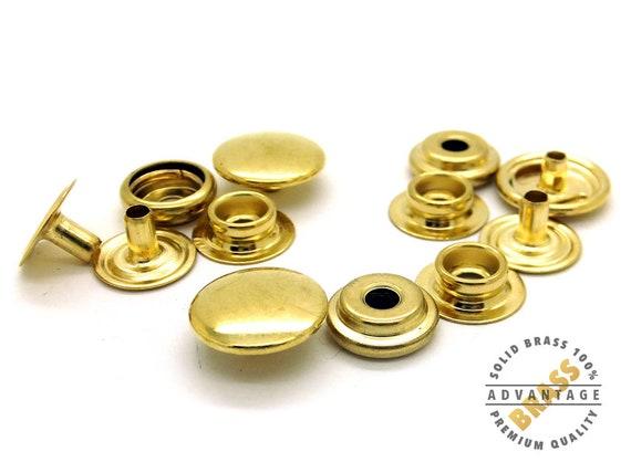 12 Pack SOLID BRASS Snap Fasteners Ring Socket Heavy Duty Press Popper Studs