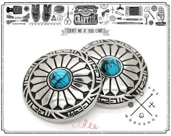 2pcs 1 3/16 Inches Decorative Concho Faux Turquoise Navajo Flower Indian Charm Screw Back Buttons Leather Craft