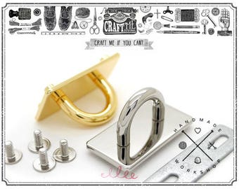 """2pcs 5/8"""" SCREW BACK D-ring Decorative Hardware Finding for Purse leather neck collar"""