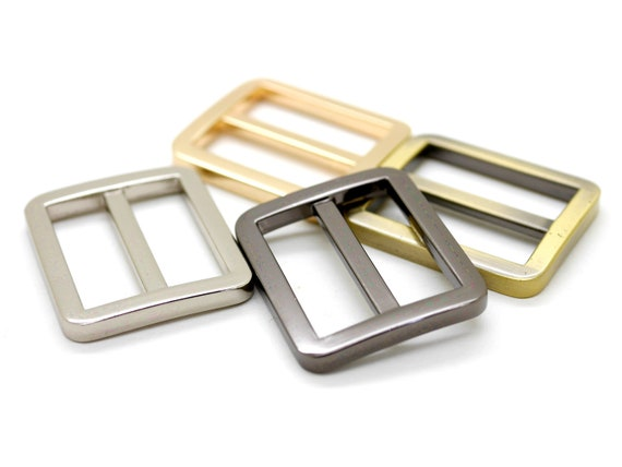 """Silver Gold 2 X STRAP KEEPER 1/"""" // 25mm Black Brass for bag making"""