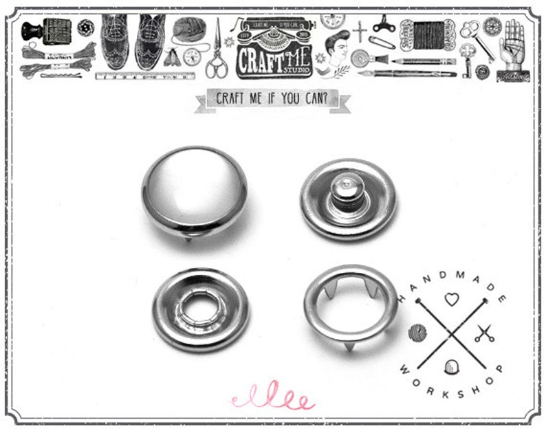 20 Sets Pearl Snaps Fasteners for Western Shirt Clothes Popper Studs Buttons