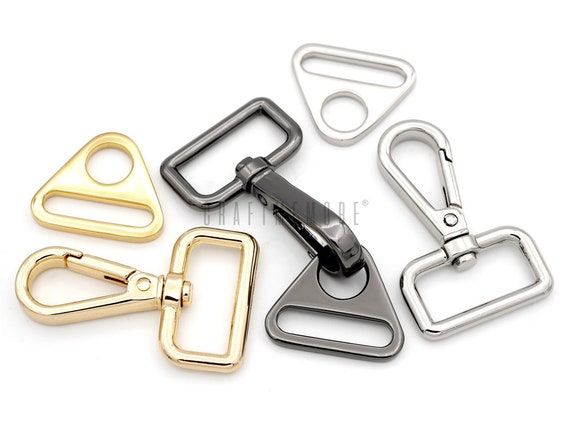 2sets Multi Size BLACK Swivel Clip Hook Push Gate Snap Lobster Clasp with D Rings