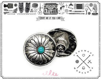 2PCS 3/4 Inch Flower Conchos Turquoise Dot Round Shape Silver Plated Metal Castings Screw Back Button