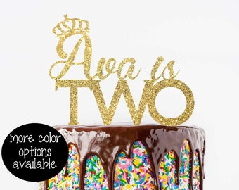 Cake Topper - Birthday Cake Topper - Two Cake Topper - Glitter Two Topper - Second Birthday Cake Topper - 2 Year Old -  Two Glitter Topper