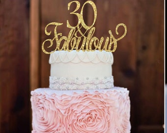30th Birthday Cake Topper 30 Fabulous Party Decor Glitter