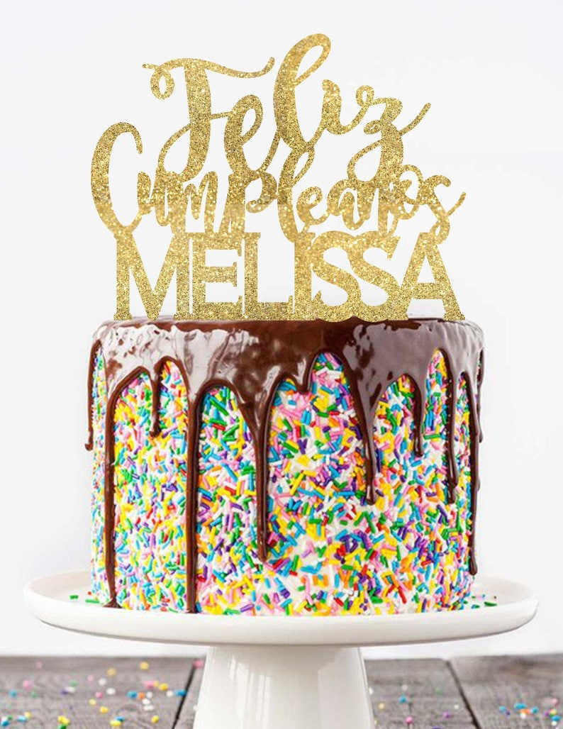 Feliz Cumpleanos Cake Topper Feliz Cumpleaños Cake Topper Etsy