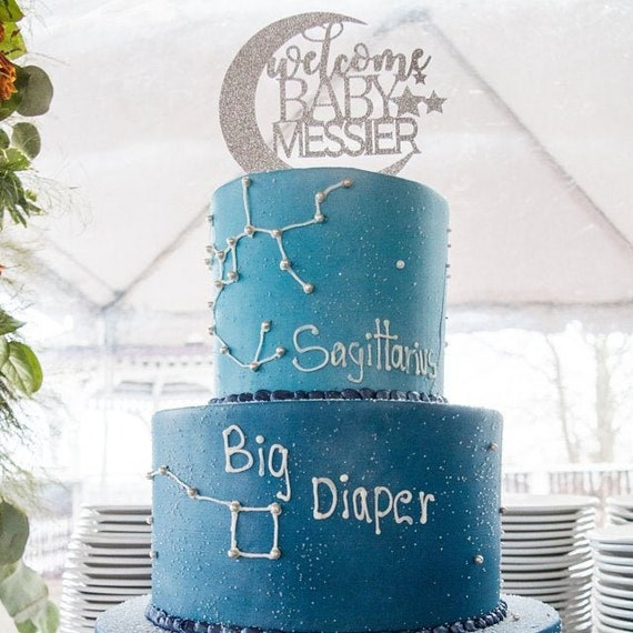 Cake Topper Welcome Baby with stars