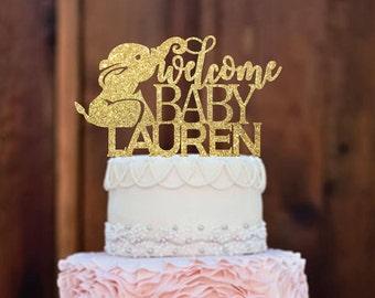 Cake Topper- Baby Shower Cake Topper - Elephant Baby Shower - Baby Shower Decorations - Welcome Baby - Baby Shower - Girl cake topper